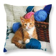 Kitten Playing With Yarn Throw Pillow