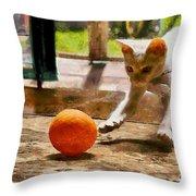 Kitten With Ball Throw Pillow