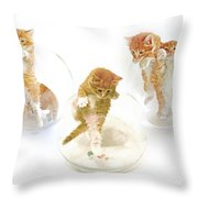 Kittens In Bowl Throw Pillow