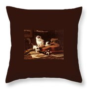 Kittens Playing With A Guitar Throw Pillow