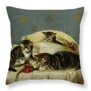 Kittens Up To Mischief Throw Pillow