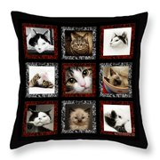 Kitty Cat Tic Tac Toe Throw Pillow