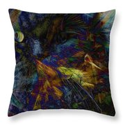 Kitty In A Mess Of Color Throw Pillow