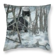 Kitty In The Cold Throw Pillow