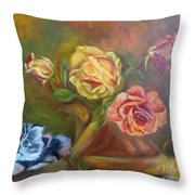 Kitty In The Roses Throw Pillow