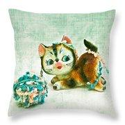 Kitty Mischief Throw Pillow