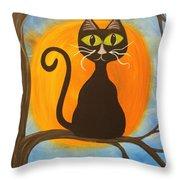 Kitty Of The Night Throw Pillow