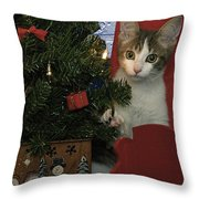 Kitty Says Happy Holidays Throw Pillow