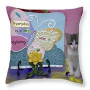 Kitty Says Wow Throw Pillow