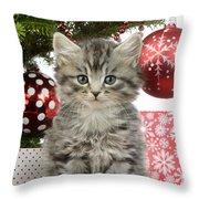 Kitty Xmas Present Throw Pillow