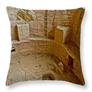 Kiva With Sipapu In Spruce Tree House On Chapin Mesa In Mesa Verde National Park-colorado Throw Pillow