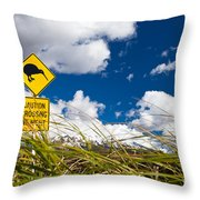 Kiwi Crossing Road Sign In Nz Throw Pillow