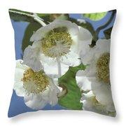 Kiwifruit Blossoms Throw Pillow