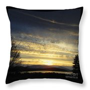Klamath Lake Sunset Throw Pillow