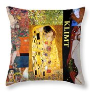 Klimt Collage Throw Pillow