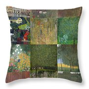 Klimt Landscapes Collage Throw Pillow