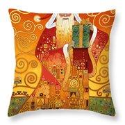 Klimt Santa Throw Pillow