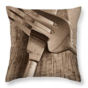 Knife And Fork Throw Pillow