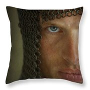 Knight In Chainmail Portrait Throw Pillow