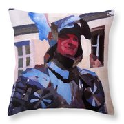Knight In Full Armor During Parade Throw Pillow