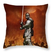 Knight In Shining Armour On A Medieval Battlefield Throw Pillow