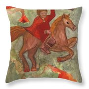 Knight Of Wands Throw Pillow