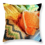 Knitting For Baby Throw Pillow