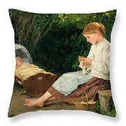 Knitting Girl Watching The Toddler In A Craddle Throw Pillow