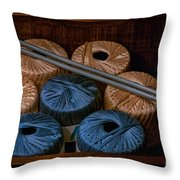 Knitting Yarn In A Wooden Box Throw Pillow