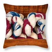 Knitting Yarn In Patriotic Colors Throw Pillow