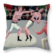 Knock Out Throw Pillow by Jerzy Marek