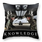Knowledge Inspirational Quote Throw Pillow
