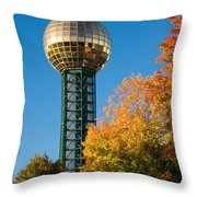 Knoxville Sunsphere In Autumn Throw Pillow