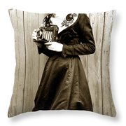 Kodak Girl With A Folding Camera Circa 1918 Throw Pillow