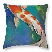 Kohaku Butterfly Koi Throw Pillow by Michael Creese