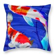 Kohaku Koi In Deep Blue Pool Throw Pillow