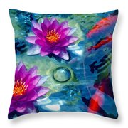 Koi And The Water Lilies Throw Pillow