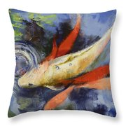 Koi And Water Ripples Throw Pillow by Michael Creese