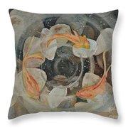 Koi Fish Garden Throw Pillow