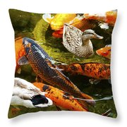 Koi Fish In Pond Swimming With Two Mallard Ducks Throw Pillow