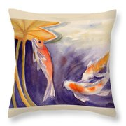 Koi In A Lily Pond 11 Throw Pillow