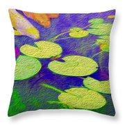 Koi Fish Under The Lilly Pads  Throw Pillow by Jon Neidert