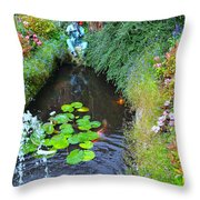 Koi Fountain Throw Pillow