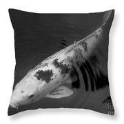 Koi In Black And White Throw Pillow