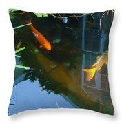 Koi - Oil Painting Effect Throw Pillow