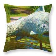 Koi Pond Fish Santa Barbara Throw Pillow by Barbara Snyder