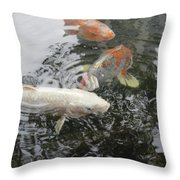 Koi Pond In Hawaii Throw Pillow