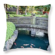 Koi Pond In Senso-ji Temple Grounds Throw Pillow