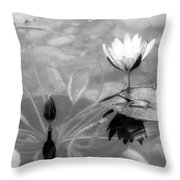 Koi Pond With Lily Pad Flower And Bud Black And White Throw Pillow