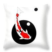 Koi Sanke Circles Nishikoi Painting Throw Pillow